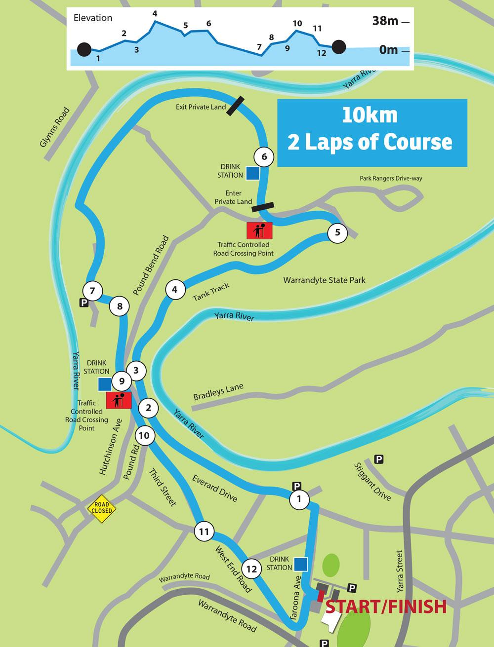 10km course for Run Warrandyte