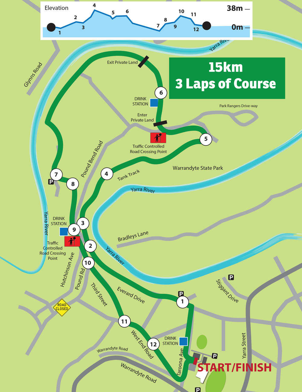 15km Course with Elevation for Run Warrandyte