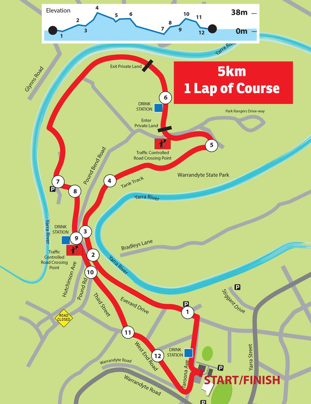 5km course Run Warrandyte