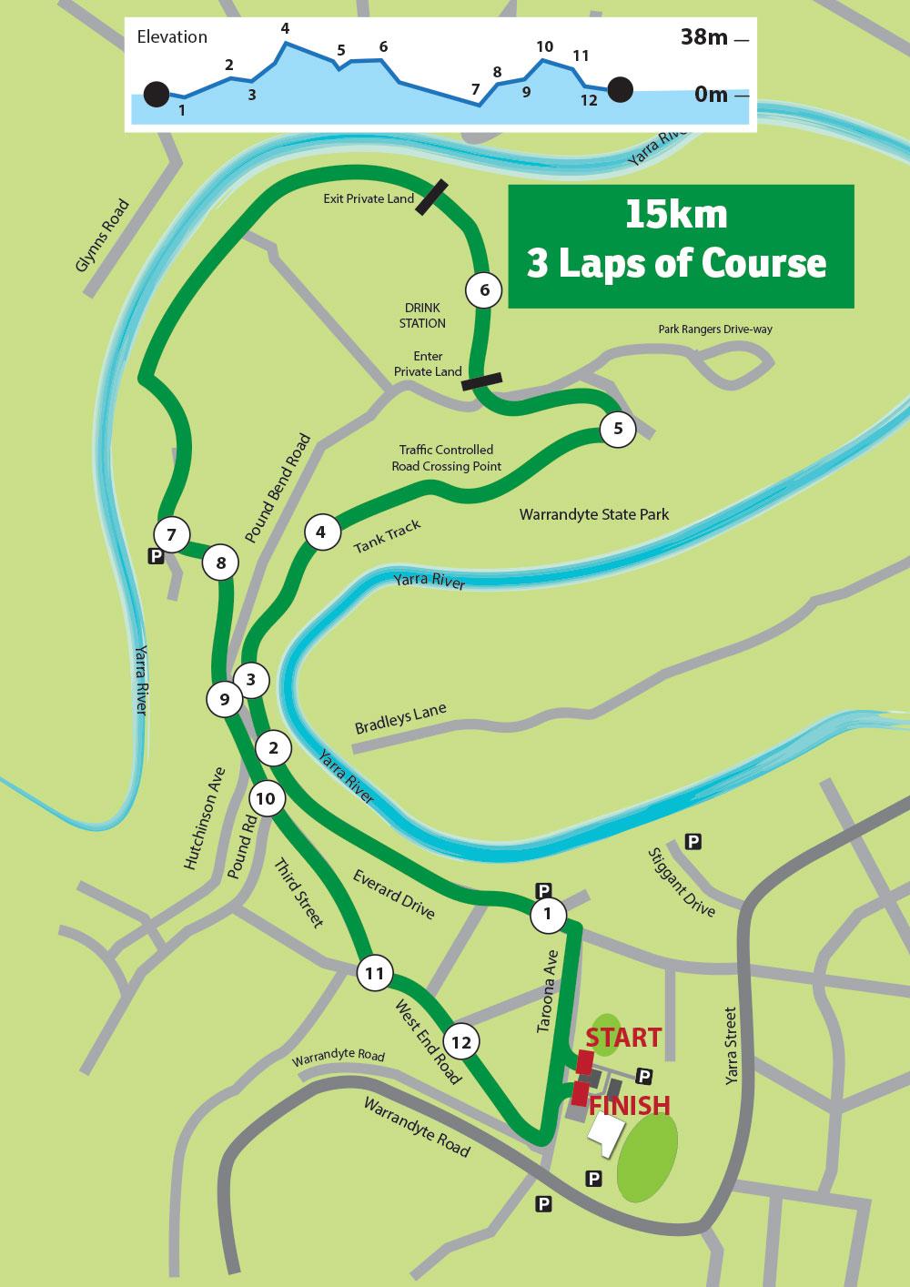 15km course run warrandyte