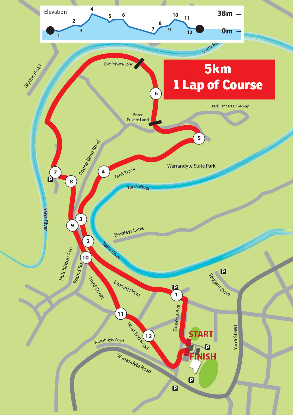5km course run warrandyte